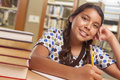 Hispanic Girl Student Studying in Library Royalty Free Stock Photo