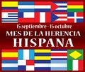 Hispanic Heritage Month September 15 - October 15 Royalty Free Stock Photo