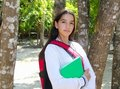 Hispanic latin teenager girl backpack Royalty Free Stock Photo