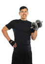 Hispanic man curling dumbbell portrait of senior isolated over white background Royalty Free Stock Image