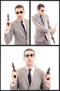 Hispanic man with gun set this image has attached release Royalty Free Stock Photography