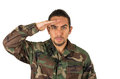 Hispanic military man wearing uniform Royalty Free Stock Photo