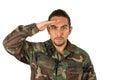 Hispanic military man wearing uniform Royalty Free Stock Photo