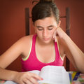 Hispanic teenage girl studying Royalty Free Stock Photo
