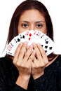 Hispanic Woman Playing Cards Royalty Free Stock Images