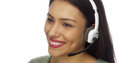 Hispanic woman telemarketer talking and smiling Royalty Free Stock Images