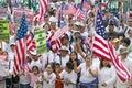 Hispanics wave American flags