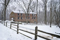 Historic allaire winter a brick building in village in new jersey Stock Photo