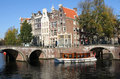 Historic Amsterdam touringboat Stock Image