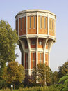 Historic brick twelve angular water tower monumental orange white dodecagonal in the city of leiden the netherlands Stock Photo