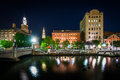 Historic buildings along the Providence River at night, in Provi Royalty Free Stock Photo