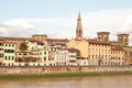 Historic buildings in florence near river arno cityscape with its and the Stock Photo