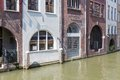 Historic canal houses in medieval city utrecht the netherlands of Royalty Free Stock Photos
