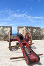 Historic cannon in el morro castle in san juan puerto rico Royalty Free Stock Image