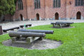 Historic cannons mary s castle malbork in front of in malborg near gdansk poland Royalty Free Stock Photography