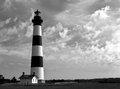 Historic carolina lighthouse on summer day wispy clouds surrounds the bodie island in the outer banks of north Stock Photography