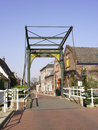 Historic cast iron drawbridge anno vintage over the does canal in the town centre of zoeterwoude rijndijk the netherlands Stock Image