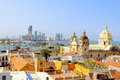 Historic center of Cartagena, Colombia with the Caribbean Sea Royalty Free Stock Photo