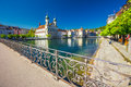 Historic center of Lucerne with Jesuit church and lake Lucerne (Vierwaldstatersee), Canton of Luzern, Switzerland Royalty Free Stock Photo