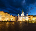 Historic centre of Ceske Budejovice at night, Budweis, Budvar, S Royalty Free Stock Photo