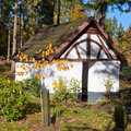 Historic Chapel in fall forest, Eifel, Germany Stock Photography