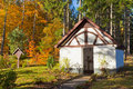 Historic Chapel in fall forest, Eifel, Germany Royalty Free Stock Image