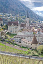 Historic  Chur surrounded by vinyards, Switzerland Stock Photo