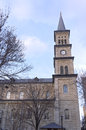 Historic church and clock tower of saint paul with spire in minnesota Royalty Free Stock Photos