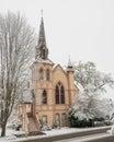 Historic church with snow