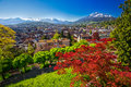 Historic city center of Lucerne with famous Pilatus mountain and Swiss Alps, Lucerne, Switzerland Royalty Free Stock Photo