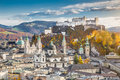 Historic city of Salzburg in fall, Austria Royalty Free Stock Photo