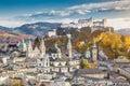 Historic city of Salzburg in fall, Austria Royalty Free Stock Photo