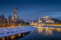 Historic city of Salzburg in winter at dusk, Salzburger Land, Austria Royalty Free Stock Photo