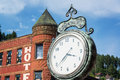 Historic clock in deadwood old the old west town of south dakota Royalty Free Stock Images