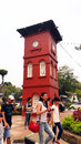 Historic clock tower in melaka the stadthuys an old dutch spelling meaning city hall also known as the red square is a historical Royalty Free Stock Images