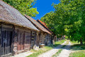 Historic cottages road in croatia wooden region of prigorje Stock Images