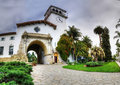 Historic courthouse entrance in Santa Barbara, California. Royalty Free Stock Photo