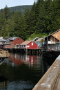 Historic creek street in ketchikan alaska usa may the antique boardwalk on wooden pilings over Royalty Free Stock Photography