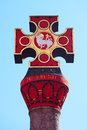 Historic cross marktkreuz at square hauptmarkt in front of the cathedral in trier germany Royalty Free Stock Photo