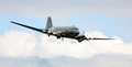 Historic dakota wwii aircraft douglas c skytrain raf in flight over cosford airbase Stock Photos