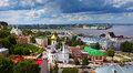 Historic district of Nizhny Novgorod in summer Royalty Free Stock Images