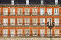 Historic Facade at Plaza Mayor in Madrid Royalty Free Stock Images
