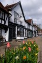 Historic half timbered building in High Street, Pinner Village, Middlesex UK, once village bakery, now Pizza Express restaurant