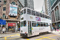Historic Hong Kong Tram Bus in Central District Royalty Free Stock Photo