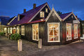 Historic house in reykjavik iceland traditional old on laugavegur street at twilight time Royalty Free Stock Photos