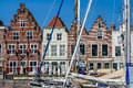 Historic houses goes harbour netherlands on turfkade and the of the city of in zeeland the Stock Photo