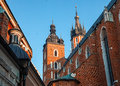 Historic houses in krakow the st mary church at the market poland Stock Photography