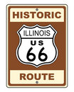 Historic Illinois Route 66 Sign Royalty Free Stock Image
