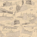 Historic italian architecture collage seamless pattern is with sketch drawings of monuments illustration is in eps mode Stock Images