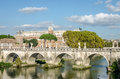 Historic Landmark architecture Eliyev build a bridge to the Castel Sant'Angelo in Rome, on the banks of the Tiber River near the a Royalty Free Stock Photo